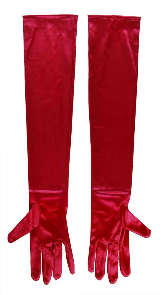 SACAS Long Bridal Satin Gloves in Red One Size 3GLDA7281C-AS03 gloves-Red
