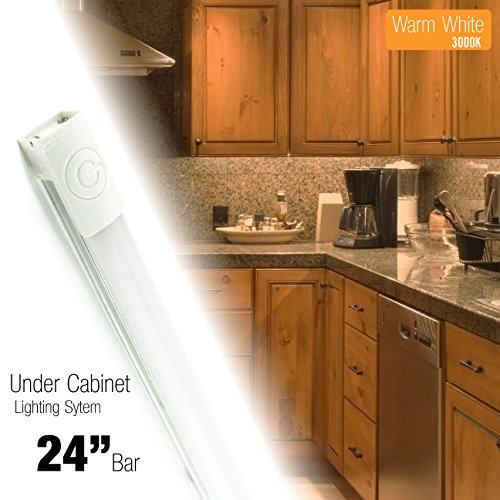 Cyron 24 inch LED 480 Lumen Lighting Kit, Under Cabinet Counter Accent Light Bar, Warm White (3000K), On/Off Touch Button, Magnetic or Bracket Mount (Included), ETL Listed, 24 Volts DC, - Cyron Led