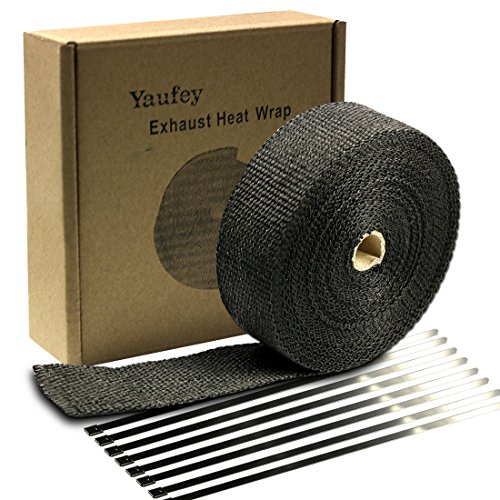 """Black Exhaust Wrap Yaufey Header Wrap Kit 2"""" x 50 Ft Exhaust Heat Wrap Tape Header Glassfiber Wrap Kit for Automotive Motorcycle with 8 Stainless Ties (Black)"""