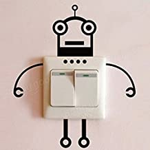 Bazaar Loskii Black Robot Switch Sticker Living Room Bedroom Wall Poster Home Decor