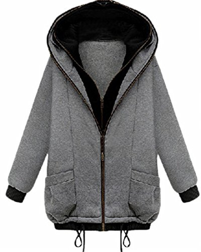 Thicken UK Grey Hoodie today Womens Pockets Winter Sweatshirt Full Light Zipper xt1xdrvwn