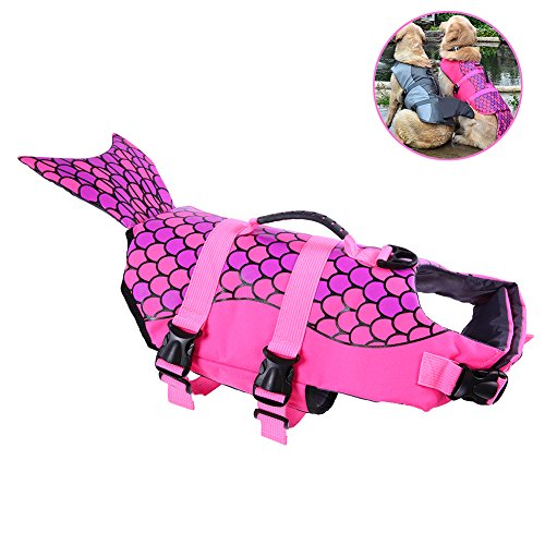 ustable Dog Life Jacket with Rubber Handle Pet Puppy Saver Swimming Water Life Vest Preserver Flotation Aid Buoyancy Fish and shark Style with fin for Small Medium, Large Dogs (Pet Life Preserver)