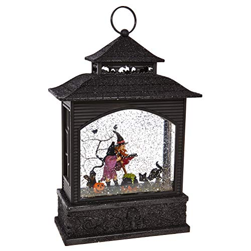 RAZ Imports Witch Lighted Water Lantern 11 Inch Halloween Snow Globe with Swirling Glitter 3800785 by RAZ Imports
