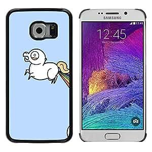 // PHONE CASE GIFT // Duro Estuche protector PC Cáscara Plástico Carcasa Funda Hard Protective Case for Samsung Galaxy S6 EDGE / Unicorn Rainbow - Lol Wtf Funny /