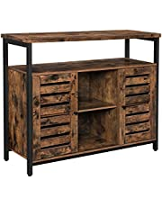 VASAGLE Sideboard, Kitchen Storage Cabinet Shelves, Louvered Doors, Floor Standing Cabinet, Rustic