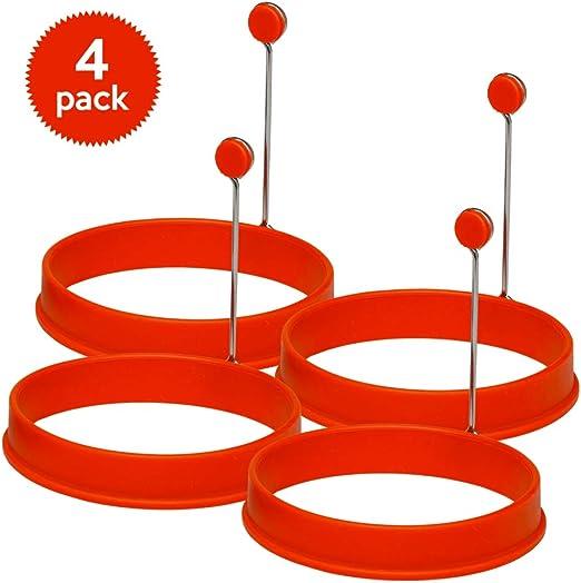 Box of 4 Red Round... YumYum Utensils Premium Silicone Egg Ring//Pancake Mold