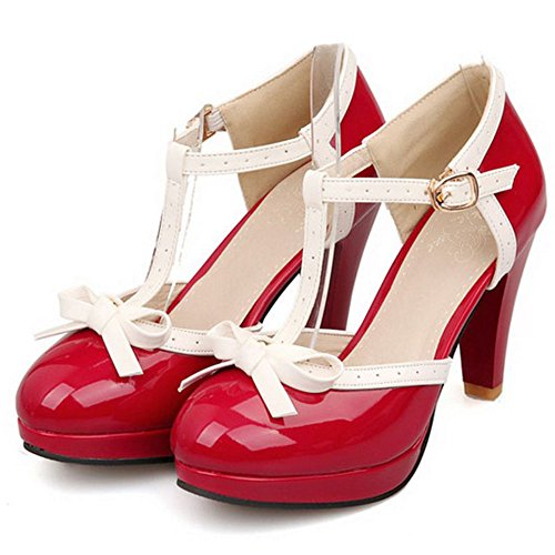 TAOFFEN Women Fashion T-Strap Wedding High Heel Pumps Bowtie Summer Sandals Red I9zVpBATYK