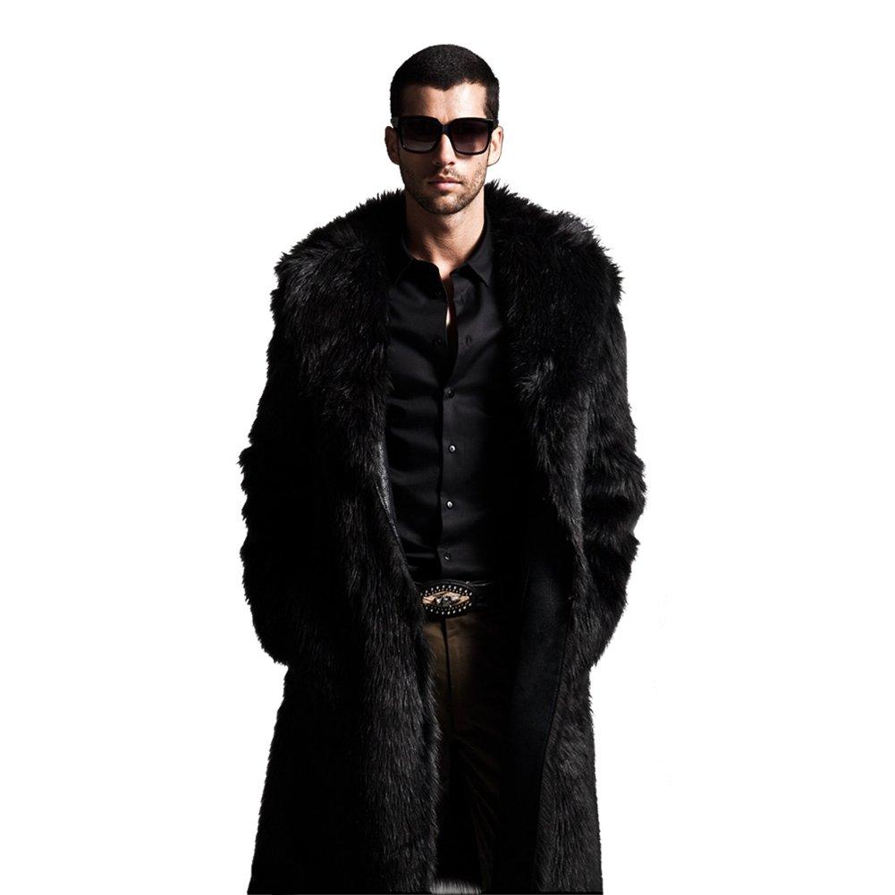 YYF Mens Warm Faux Fur Long Overcoat Parka Coat Outerwear Black