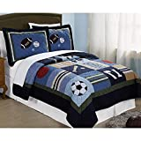 3pc Kids Full Queen Size Blue Sport Theme Patchwork Quilt, Sports, Grey Red White Basketball Soccer Baseball Football Stars, Cotton, Active Activity Squares Horizontal Stripes