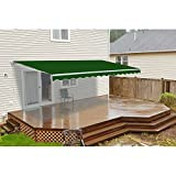 ALEKO Retractable Patio Awning 12ft x 10ft (3.65m x 3m) Solid Green Color