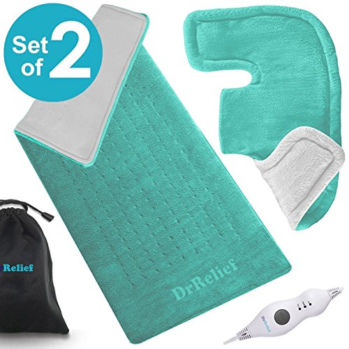Heating Pad Gift Set – Shoulder & Neck Heating Pad and Extra-Large 12 x 24 Inch Heating Wrap for Back or Abdominal Pain Relief – Moist Heating Option with Auto Shut Off - One Year Warranty (Back Pad Pain Heating)
