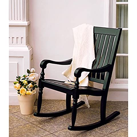 Lyon Black Mahogany Porch Rocking Chair - Classic Collection Adirondack Deck Chair