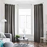 dark grey curtains pencil pleat YHviking Full Shading Thickening Curtains,Draped Curtain,Supersoft Heat Insulation Sun Protection Shower Curtain For Screens Bedroom Living Room-gray 150x200cm(59x79inch)