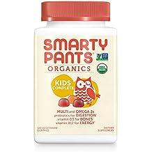 SmartyPants Vegetarian Organic Kids Daily Gummy Vitamins: Multivitamin, Gluten Free, Non-GMO, Omega-3, Probiotic, Vitamin D3, Methylcobalamin B12, Zinc; 120 Count (30 Day Supply)