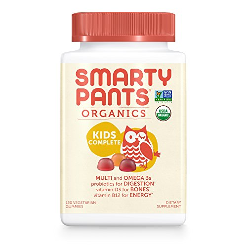 SmartyPants Vegetarian Organic Kids Daily Gummy Vitamins: Multivitamin, Gluten Free, Non-GMO, Omega-3, Probiotic, Vitamin D3, Methylcobalamin B12, Zinc; 120 Count (30 Day Supply)