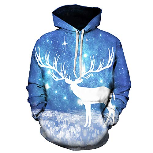 NRUTUP Clearance Christmas Clothing, Men's Active Sweatshirts Fashion 3D Elk Print Hoodie Sweaters Jackets & Coats(Blue,L) -