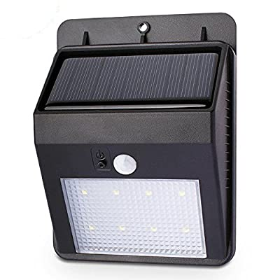 Dolucky Solar Wall Light with 8 LED Bright Outdoor Waterproof Light - Security Lighting Nightlight with Motion Sensor Detector - Great for Patio, Deck, Yard, Garden,Stairs and Pathway - 1 Pack