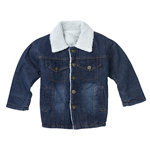 Fineser TM Kids Classic Heavyweight Jeans Denim Coat Winter Thick Warm Clothes (Blue, 8-9T) (Heavyweight Classic Jeans)
