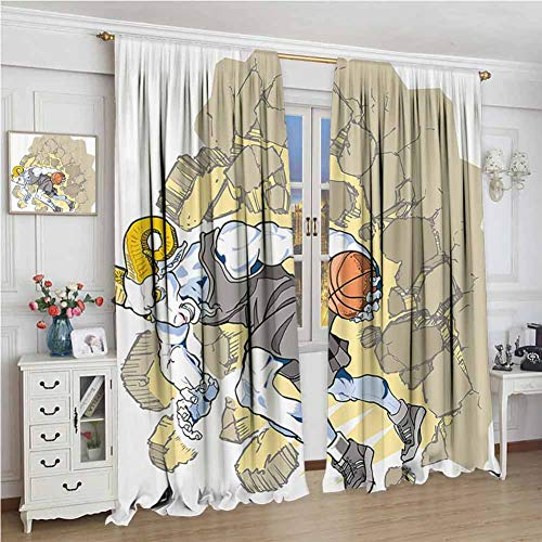Animal Decor Heat Insulation Curtain Painting Style A Farmville Bighorn Sheep Basketball Player Ilustration Art for Living Room or Bedroom W84 x L96 Inch Tan and Grey (Farmville Market)