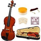 1/2 Half Size Acoustic Violin, Strong Wind Solid Wood Natural Varnish Violin Beginner Kit with Hard Case, Shoulder Rest…