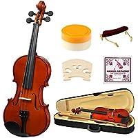 1/2 Half Size Acoustic Violin, Strong Wind Solid Wood Natural Varnish Violin Beginner Kit with Hard Case, Shoulder Rest, Bow, Rosin for Starter Students Children