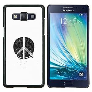 LECELL--Funda protectora / Cubierta / Piel For Samsung Galaxy A5 A5000 -- hippie blanco la paz negro signo arte --