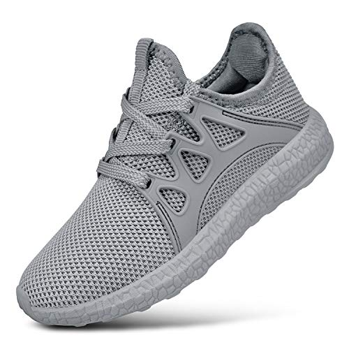KIKOSOCKS Boys Girls Shoes Mesh Athletic Lightweight Non-Slip Walking Sneakers Grey 1.5 M US ()