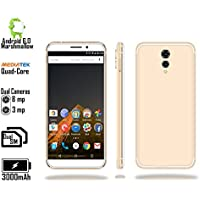 Indigi 4G LTE GSM Unlocked 5.6 Smartphone by (4Core 1.2GHz + Android 6 Marshmallow + Fingerprint + Dual SIM + 8MP CAM) - White/Gold