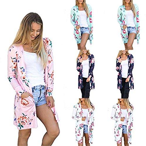 Blazer Rose Felpa Moda Rosa Kimono Lunghe Sweater Camicetta Donne Cappotto Stampe Maniche Giacca Cardigan Top HAFYx6Ewq