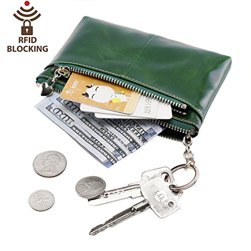 Leather Coin Purse (Itslife RFID BLOCKING Triple Zipper Leather Mini Coin Purse Card Holder with Key Chain (Green))
