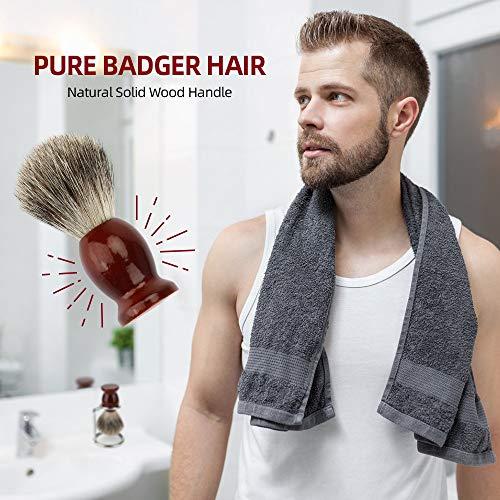 ShavingBrush Stand Kit for Men, INTSUN 2in1 Pure Badger Hair Shaving Brush Natural Solid Wood Handle with Shaving Stand Perfect for Men Wet Shaving Set Gift