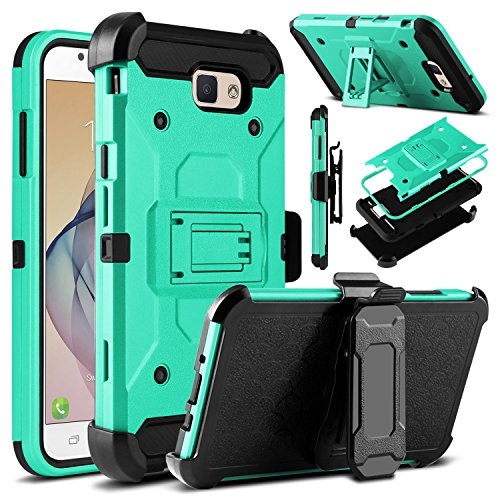 Galaxy J7 V Case, Galaxy J7 Perx Case, Galaxy J7 Sky Pro Case, Venoro Heavy Duty Shockproof Protection Case Cover with Belt Swivel Clip and Kickstand for Samsung Galaxy Halo / J7 2017 (Blue Green)