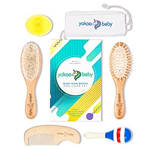 Yokoo Baby Hair Brush Set with Natural Goat Hair | 2 Brushes, Comb, Bath Brush, Rattle Toy and Carry Pouch for Newborns Infants & Toddlers - Prevents Cradle Cap - Full 6-in-1 Set
