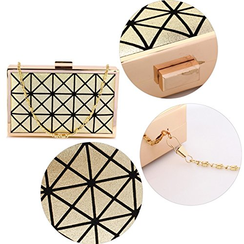 For Gold Hard Clutch Women's LeahWard Metal Party Wedding Evening Box Bridal Handbags Purse 1AqXwq