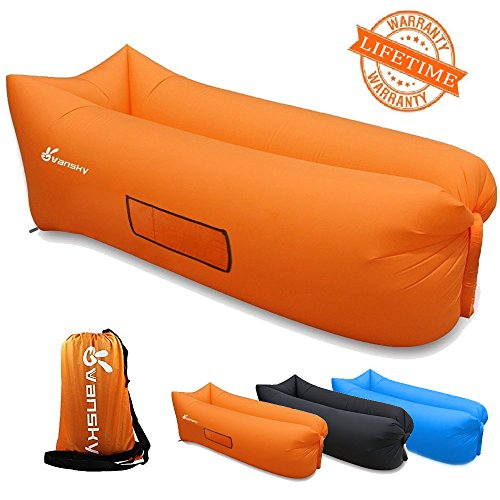 Vansky 2.0 Inflatable Lounger Portable Air Couch Air Filled Beach Lounger,Nylon Fabric Hangout Sofa Bag,Outdoor or Indoor Inflatable Couch for Camping,Beach,Park,Backyard - Orange