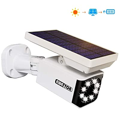 Solar Motion Sensor Light Outdoor, Wireless Security Flood Light & Dummy Security Camera, Waterproof 800LM 8Watt Wall Lamp Spotlight for Yard Garden Patio Garage Pathway Step