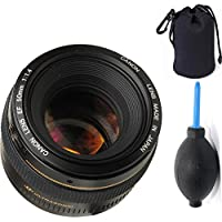 Canon 50mm 1.4 Portrait Lens + Deluxe Lens Blower Brush + Lens Carrying Pouch
