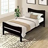 Merax WF034134PAA Platform Bed Wood Frame with Headboard/No Box Spring Needed/Wooden Slat Support Finish, Twin, Espresso