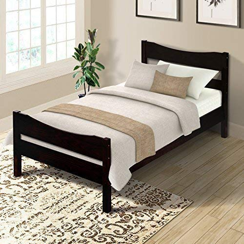Espresso Finish Wood Frame - Merax WF034134PAA Wood Platform Bed Frame with Headboard/No Box Spring Needed/Wooden Slat Support/Espresso Finish, Twin