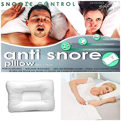 NIGHTS Anti-Snore Snooze Control Orthopedic Hollowfibre Luxury Pillow for...
