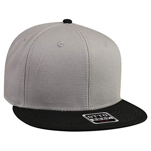 OTTO SNAP Cotton Twill Round Flat Visor 6 Panel Pro Style Snapback Hat - - Otto Caps Cotton Twill