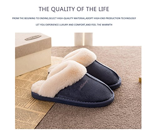 Foam Memory Fluffy Womens Outdoor Sole On Indoor Skid amp; Slipper Slip Anti Blue Suede House Fur Lined 5w5qrtE