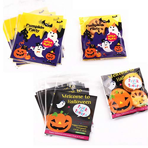 Homemade Halloween Snacks (Dunhil 200 PCS Halloween Cellophane Snack Bags Clear Candy Cookie Treat Bags for Bakery Biscuit Chocolate Snacks Halloween Party Favors Homemade)