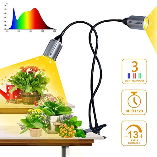 75W COB LED Grow Light, Mrhua Full Spectrum Grow Lights for Indoor Plants Sunlike Growing Lamps with 3H 9H 12H Timer, 13Dimmable Levels, Dual Heads Plants Lights for Seedling Growing Blooming Fruiting