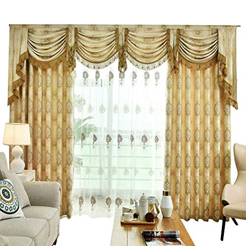Queen's House Gold Curtains for Bedroom Window Curtains Panels with Valance Drapes Set Custom ()