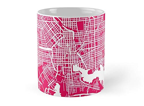Baltimore Map Rapsberry 11oz Mug - Made from Ceramic - Great gift for family and friends