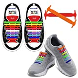 Homar Adult Elastic No Tie Athletic Shoelaces - Best in Sports Fan Shoelaces - Waterproof Silicon Decorative Shoe Laces Perfect for Sneaker Boots Board Shoes and Casual Shoes - Colorful