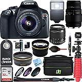 Canon EOS Rebel T6 Digital SLR Camera Wifi + 18-55mm IS II & Sigma 70-300mm Macro Telephoto Zoom Lens Kit + Accessory Bundle 64GB SDXC Memory + Bag + Wide Angle Lens + 2x Telephoto Lens+Flash+Tripod