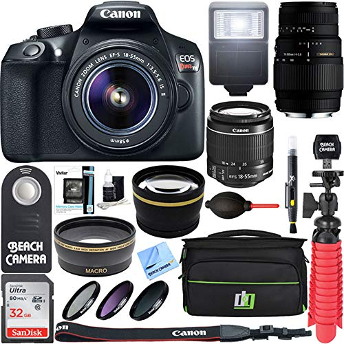 Cheap Canon EOS Rebel T6 Digital SLR Camera Wifi + 18-55mm IS II & Sigma 70-300mm Macro Telephoto Zoom Lens Kit + Accessory Bundle 64GB SDXC Memory + Bag + Wide Angle Lens + 2x Telephoto Lens+Flash+Tripod