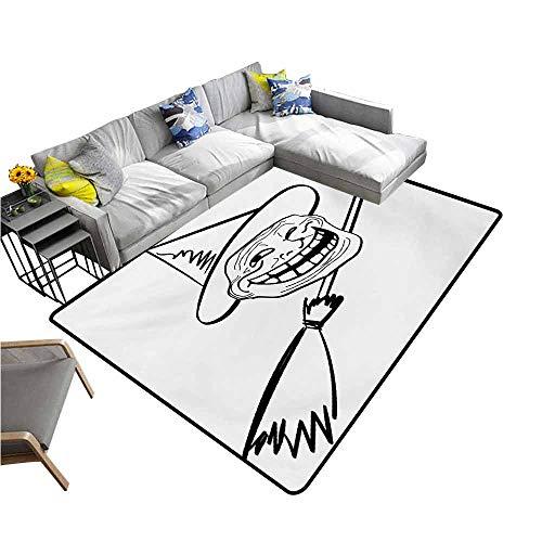 Floor mats for Kids Humor,Halloween Spirit Themed Witch Guy Meme LOL Joy Spooky Avatar Artful Image Print,Black and White 36